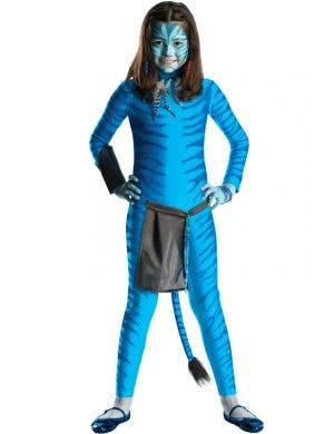 Blue Neytiri Girl's Avatar Costume Front View