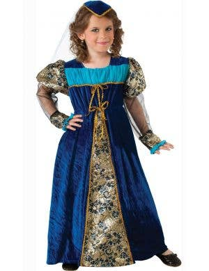 Blue Camelot Princess Girls Renaissance Fancy Dress Costume