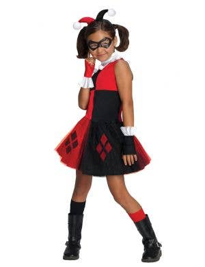 Girls Harley Quinn Super Villain Costume Front View