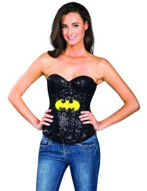 Black sexy sequinned costume corset superhero batman tv character