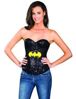 e0271bb8209 Black sexy sequinned costume corset superhero batman tv character