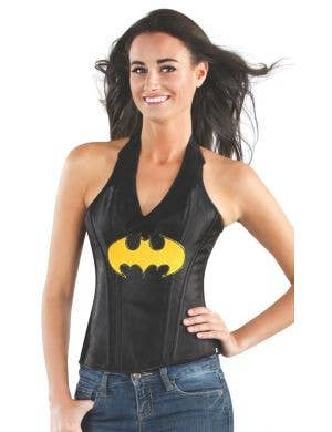 Sexy Women's Black Batgirl Superhero Satin Costume Corset