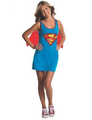 Supergirl Tank Dress Teen Girls Costume With Cape