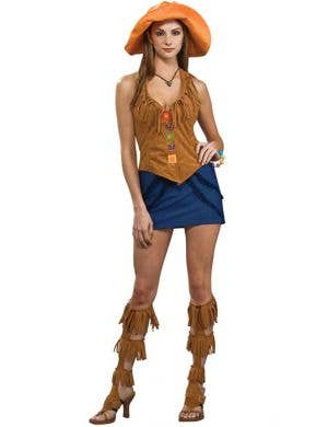 Women's Short Boho Hippie Costume Front View