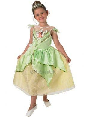 Girl's Green Princess Tiana Disney Costume Front View