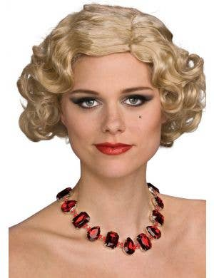 Jazzy 1920's Ruby Jeweled Costume Necklace