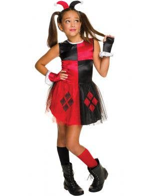 Girls Classic Harley Quinn Superhero Fancy Dress Costume