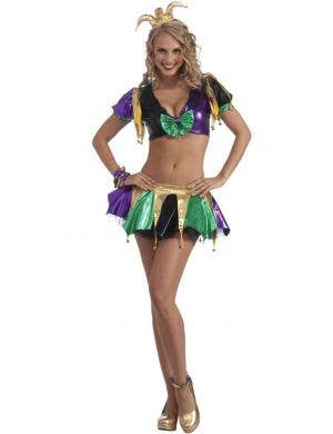 Purple, Green and Gold Women's Sexy Jester Clown Costume Main Image