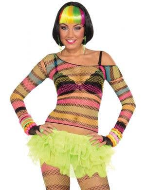 Rainbow Rave Women's Fishnet Mesh 80's Top Front View
