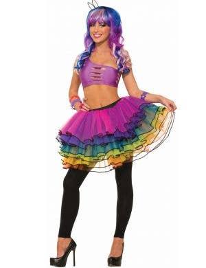 Forum Novelties Womens Rainbow Sparkly 1980's Costume Tutu view 1