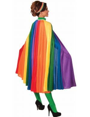 Adult's Long Rainbow Striped Costume Cape Accessory View 1