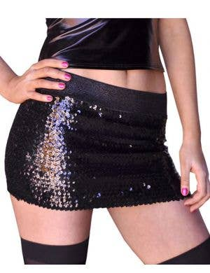 Sequined Black Stretchy Mini Costume Skirt