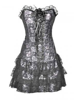 Silver Lace Women's Skirted Corset Burlesque Costume
