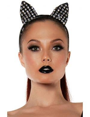 Black Cat Sparkly Ears on Headband Front View