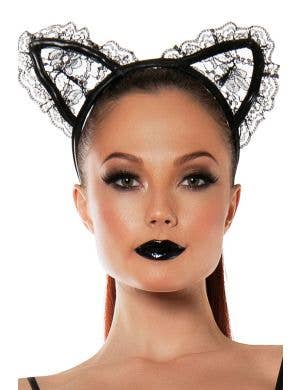 Women's Black Lace Cat Ears Front View
