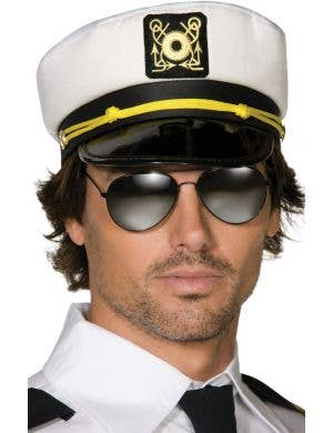 Adults White Sailor Captains Costume Hat