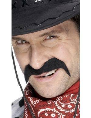 Wild West Black Cowboy Moustache Costume Accessory