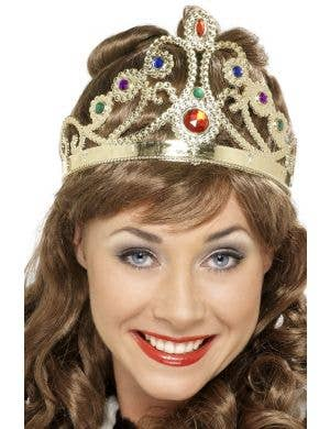 Medieval Jeweled Gold Crown Costume Accessory