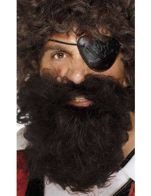 Men's Dark Brown Curly Pirate Beard And Moustache Set Costume Accessory