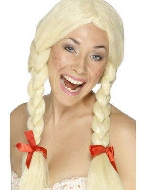 Blonde Plaits Schoolgirl Costume Wig