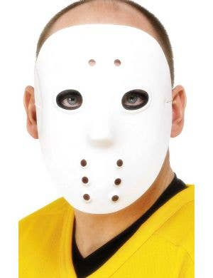 Plastic White Hockey Mask Costume Accessory Main Image
