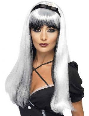 Bewitching White and Black Halloween Wig