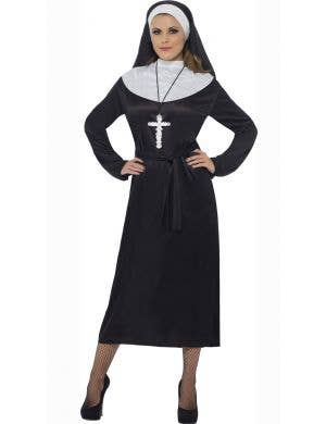 Women's Classic Long Nun Fancy Dress Costume Front View