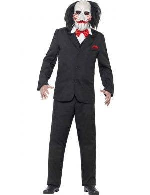 Men's Jigsaw Saw Psycho Killer Fancy Dress Costume Front View