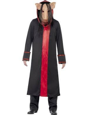 Men's Psycho Killer Pig Saw Movie Black And Red Costume Front View