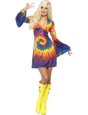 Women's Tie Dye 60's Hippie Costume Dress Front View