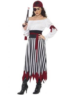 Women's Long Pirate Fancy Dress Costume Front Image