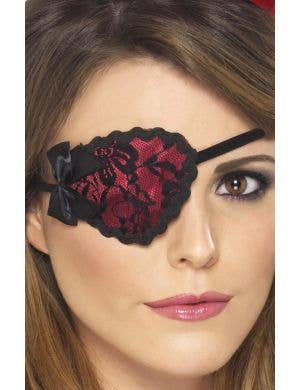 Buccaneer Beauty Women's Red And Black Lace Pirate Eye Patch Accessory