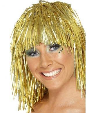 Metallic Gold Tinsel Women's Costume Wig