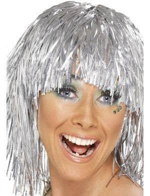 Cyber Tinsel Metallic Silver Women's Costume Wig