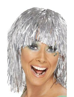 Cyber Tinsel Metallic Silver Women's Costume Wig