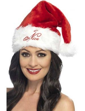 Plush Red and White Naughty or Nice Sexy Santa Hat Main View
