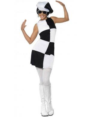 Women's 60's Mod Black and White Retro Costume Front View