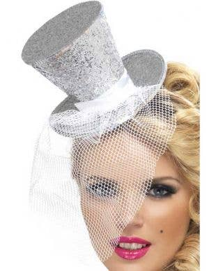 Fever Glitter Mini Top Hat - Silver
