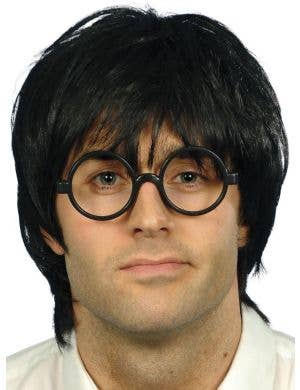 Schoolboy Men's Short Black Wig and Glasses Set