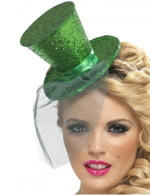Fever Green Glitter Mini Top Hat