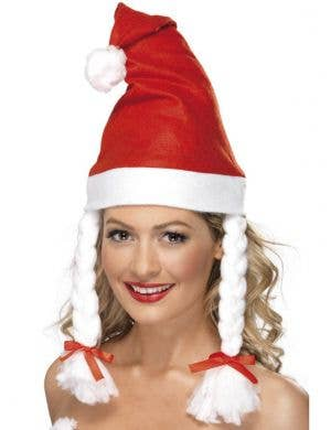 Classic Red Christmas Santa Hat with Plaits
