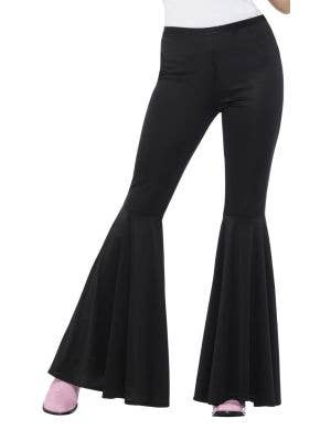 Groovy Flared 1970's Women's Black Stretch Costume Pants