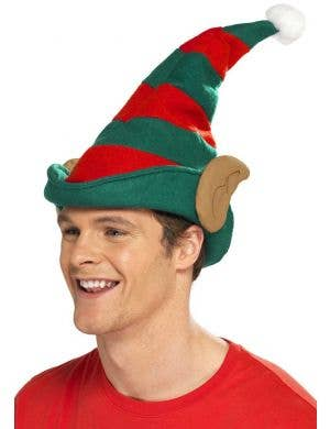 Red and Green Christmas Elf Costume Hat with Ears