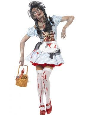Women's Creepy Zombie Dorothy Halloween Costume Front View