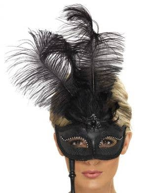 Tall Feather Black Handheld Fancy Masquerade Mask
