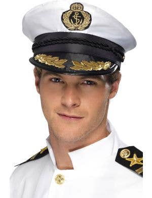 Flight captain white novelty adults fancy dress pilot hat
