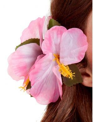 Large Pink Hawaiian Flower Hair Clip Costume Accessory