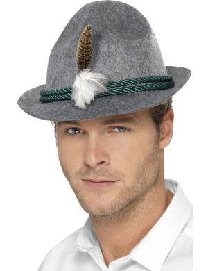 Grey Oktoberfest Hat with Attached Feather for Adult's