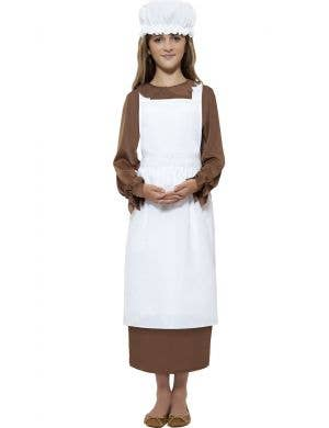 Kids Poor Victorian Apron and Mop Cap Costume Kit Front View