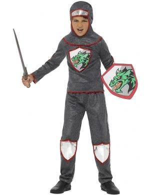 Boy's Medieval Knight Armour Fancy Dress Book Week Costume View 1